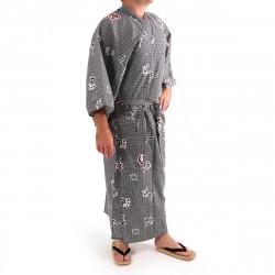 giapponese yukata kimono di cotone grigio-blu, KANJI