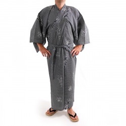 giapponese yukata kimono di cotone grigio-blu, KANJI, gioia kanji e di buon auspicio