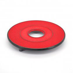 Japanese cast iron trivet, ARARE, red