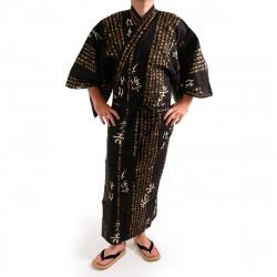kimono yukata giapponese nero in cotone, HIDEYOSHI, kanji hideyoshi generale
