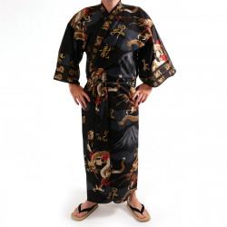 kimono yukata giapponese nero in cotone, FUJIRYÛ, drago e monte fuji