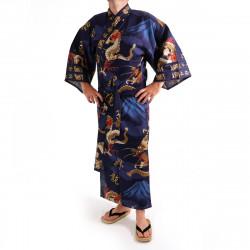 kimono yukata giapponese blu in cotone, FUJIRYÛ, drago e monte fuji