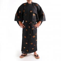 kimono yukata giapponese nero in cotone, DIAMOND, diamante e kanji