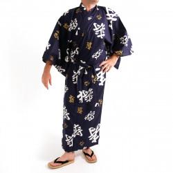 yukata kimono giapponese blu in cotone, CHÔJU, kanji felice longevità