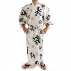 kimono yukata giapponese bianco in cotone, CHÔJU, kanji felice longevità