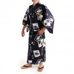 yukata kimono giapponese blu in cotone, SUMO, blu