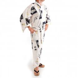 kimono yukata giapponese bianco in cotone, SUMO, bianco