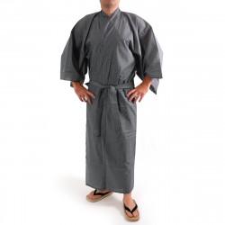 giapponese yukata kimono di cotone grigio-blu, 976Y, zero