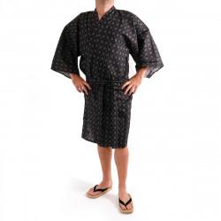 happi kimono giapponese nero in cotone, MOYOU, quadri