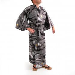 Japanese traditional black cotton yukata kimono mont fuji for men