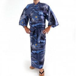 yukata kimono giapponese blu in cotone, FUJI, Monte Fuji