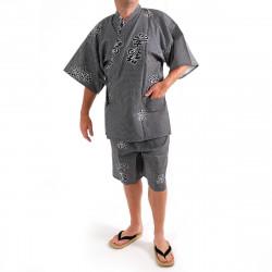 giapponese blu-grigio cotone jinbei kimono, KANJI, gioia kanji e di buon auspicio