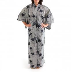 kimono giapponese yukata in cotone grigio blu, SHIBORI, strisce e fiori di iris