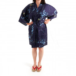 Japanese traditional blue navy cotton hanten kimono plum and bush warbler for ladies