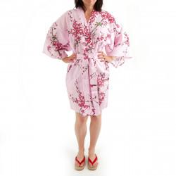 hanten kimono giapponese in cotone rosa, TORIUME, fiori di uccello e prugna