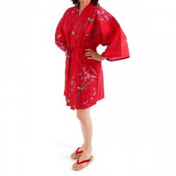 hanten kimono giapponese in cotone rosso, TORIUME, fiori di uccello e prugna