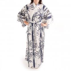kimono giapponese yukata in cotone bianco, TAKE, bambù