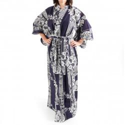 kimono giapponese yukata in cotone blu, HANAKAMON, cerchio di fiori