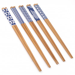 set 5 pairs of blue japanese chopsticks 2