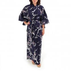 kimono giapponese yukata in cotone blu, UME, fiore di pruno