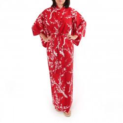 kimono giapponese yukata in cotone rosso, UME, fiori di pruno