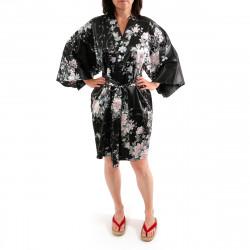 Japanese traditional black sateen hanten kimono poetry and flowers for ladies