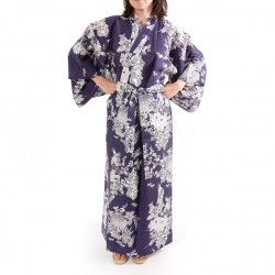 Japanese traditional blue navy cotton yukata kimono peony and beauty for ladies