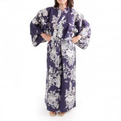 kimono giapponese yukata in cotone blu, PEONY GEISHA, Peonia e bellezze giapponesi