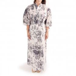 kimono giapponese yukata in cotone bianco, PEONY GEISHA, fiori di peonia e bellezze giapponesi