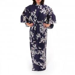 kimono giapponese yukata in cotone blu, SAKURA, fiori di ciliegio
