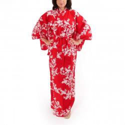kimono giapponese yukata in cotone rosso, SAKURA, fiori di ciliegio