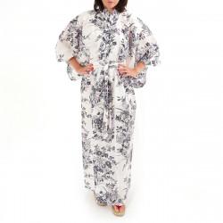 Japanese traditional white cotton yukata kimono lily for ladies