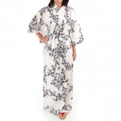 kimono giapponese yukata in cotone bianco, SAKURA, fiori di ciliegio