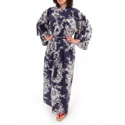 Japanese traditional blue navy cotton yukata kimono lily for ladies