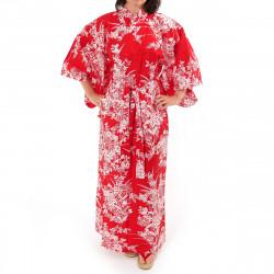 Japanese traditional red cotton yukata kimono lily for ladies