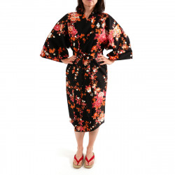 Japanese traditional black cotton sateen happi coat kimono peony and cherry blossom for ladies