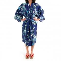 Japanese traditional blue navy cotton sateen happi coat kimono peony and cherry blossom for ladies