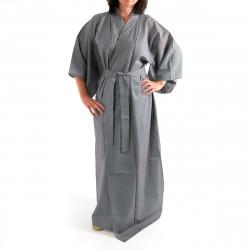 Japanese traditional blue navy grey cotton yukata kimono stripe for ladies