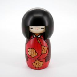 japanese wooden doll - kokeshi, KOJITSU, red