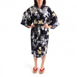 happi kimono giapponese felice cotone, TSURU SAKURA, fiori di ciliegio e gru