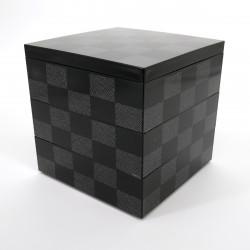 Large japanese lunch box, ICHIMATSU, Black checkerboard