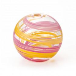 vaso di vetro giapponese, SAKURAKAZE, rosa e giallo