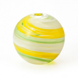 japanese glass vase, WAKAKUSA, yellow and green