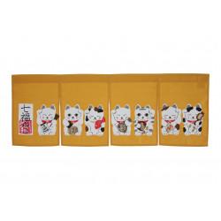 cortina amarilla de algodón japonés, SHICHI FUKUNEKO, manekineko