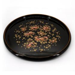 brown lacquered effect tray, SAKURADUKUSHI, sakura flowers