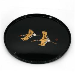 black lacquered effect tray, SHOKAKU, cranes
