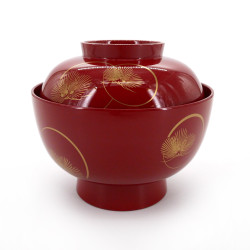 bowl of soup with lid pins, KORINMATSU, red