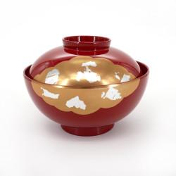 ciotola di zuppa con coperchio rosso, KINUN, nuvole