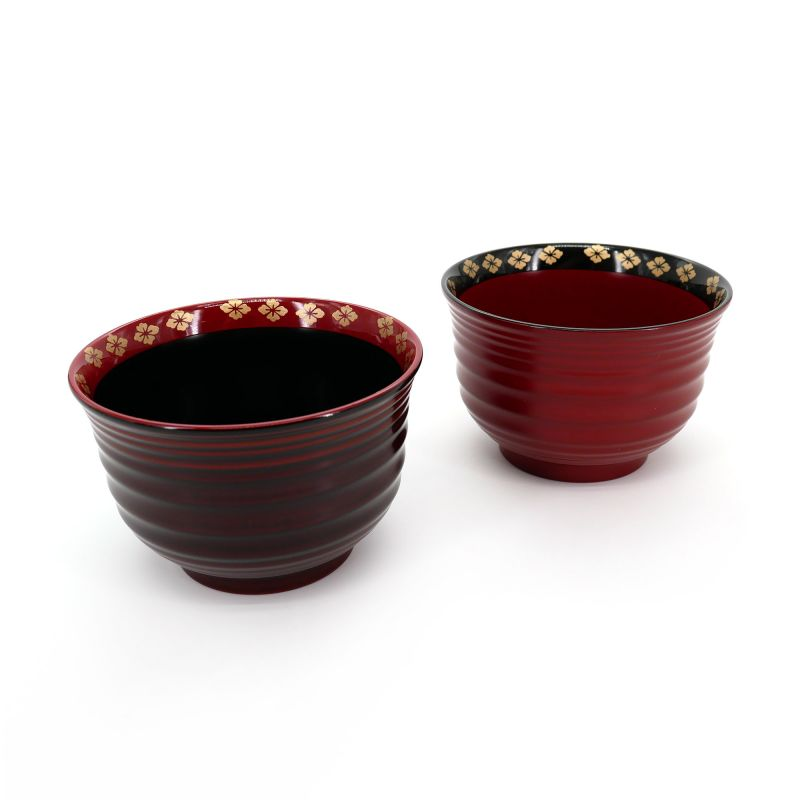 set of 2 bowls of red soup, KARYÔ, lacquered effect