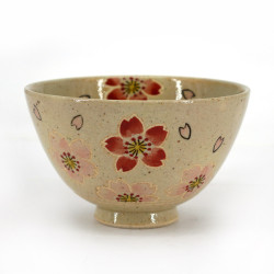 Japanese tea bowl for ceremony - chawan, SAKURA HANAMI, flowers
